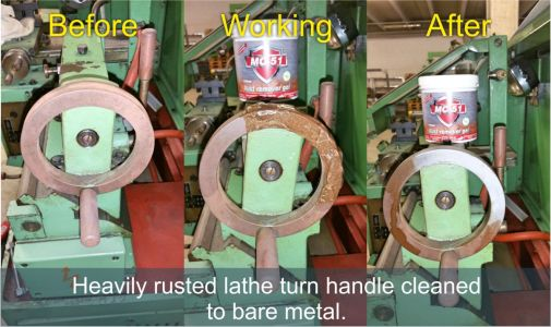 Rusted Lathe handle cleaning
